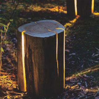 WOOD 木桩庭院花园装饰草坪灯 地面安装 3W