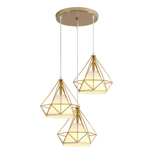 现代简约钻石餐吊灯经典3头吊灯E27接头圆形/条形挂板