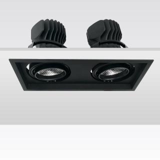 KAKA DW041-2  双头方形可调角度嵌入式射灯 高P无频闪商业用高显防眩射灯 开孔240*115mm  20W*2/25W*2/30W*2